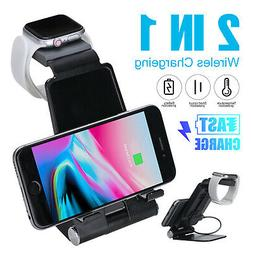 2 in 1 Wireless Charging Pad Fast Charger Dock station For i