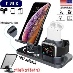 3 in 1 Charging Dock Station Holder Stand Fr Apple iWatch Ai
