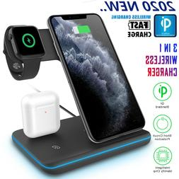 3in1 Qi Wireless Charger Fast Charging Dock For Apple Watch