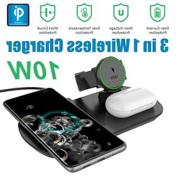 3in1 Qi Wireless Charger Fast Charging Station Dock For Sams