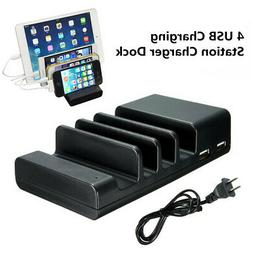 4 Port USB Hub Charging Dock Station Charger Stand Organizer