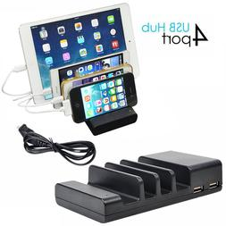 4 Ports USB hub Charging Dock Station Charger Stand Holder f