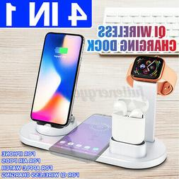 4in1 Qi Fast Wireless Charging Dock Stand Station For Apple