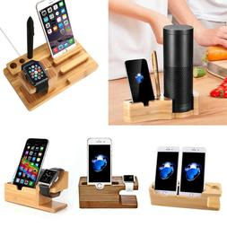 Bamboo Charging Dock Station Charger Holder Stand For Apple