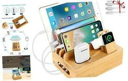Bamboo Charging Station Dock for 4/5 / 6 Ports USB Charger,D