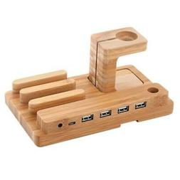 bamboo wood apple watch charging stand bracket