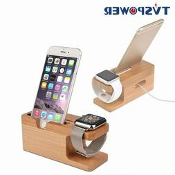 Charging Dock Station Bamboo Wood Holder for iPhone x xs xr