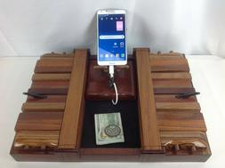 Handmade Exotic Wood Mens Jewelry Valet Phone Charging Docki