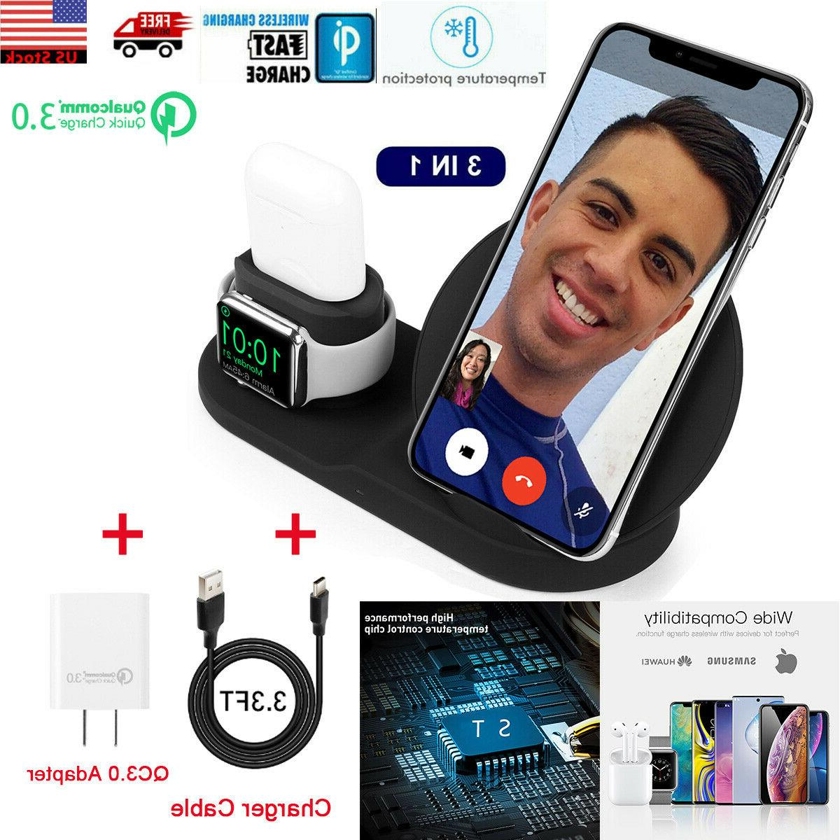 3in1 qi wireless charger station dock stand