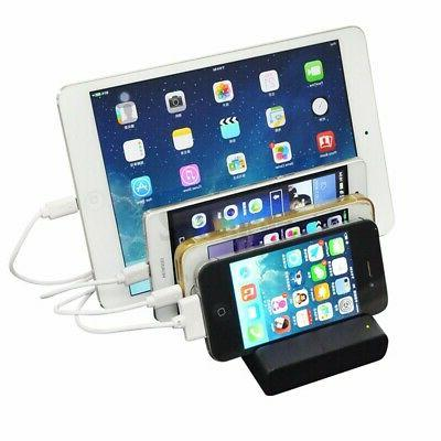 4 Port Hub Charging Station Charger Stand For iPAD Cell Phone