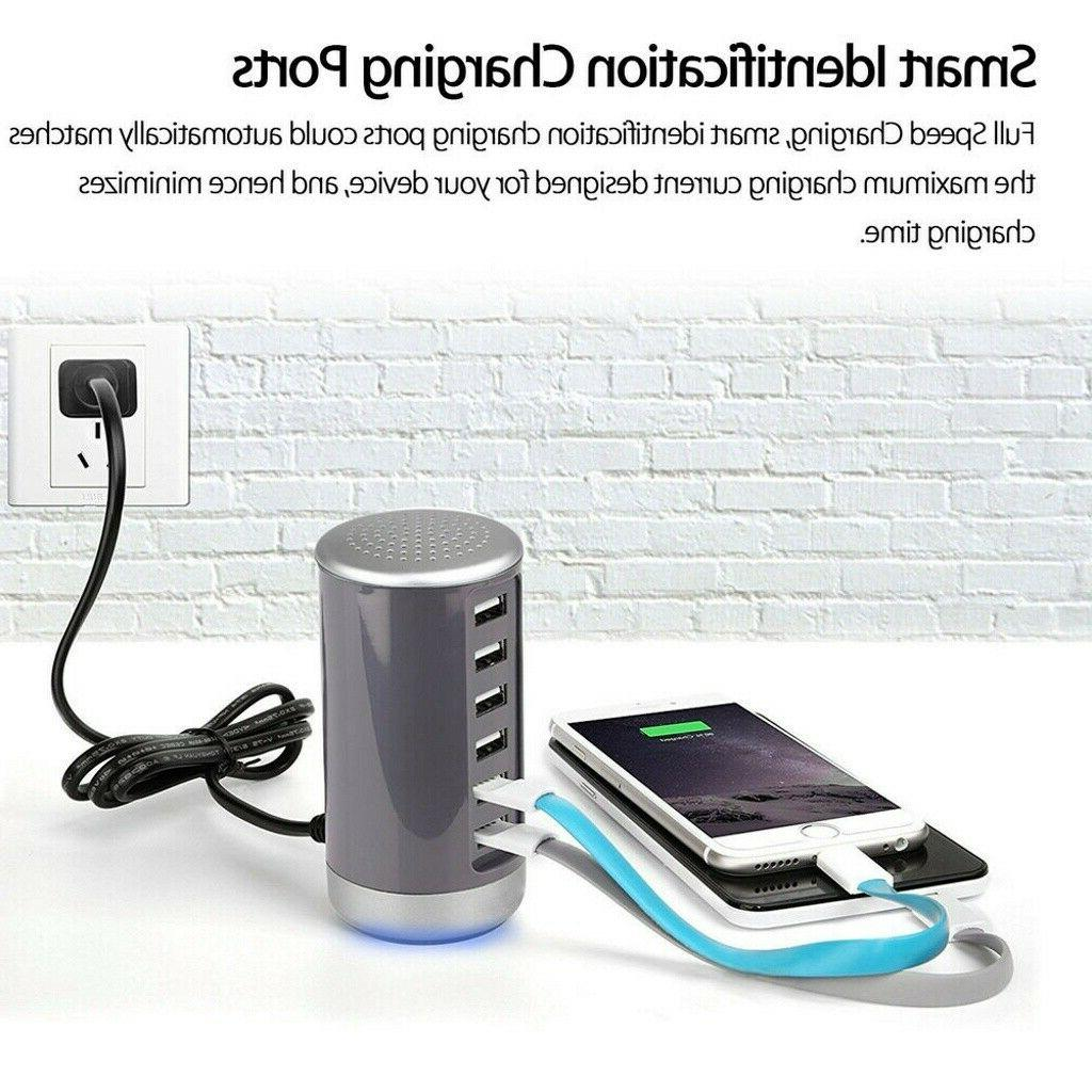 6 Port USB Tower Charging Adapter Station