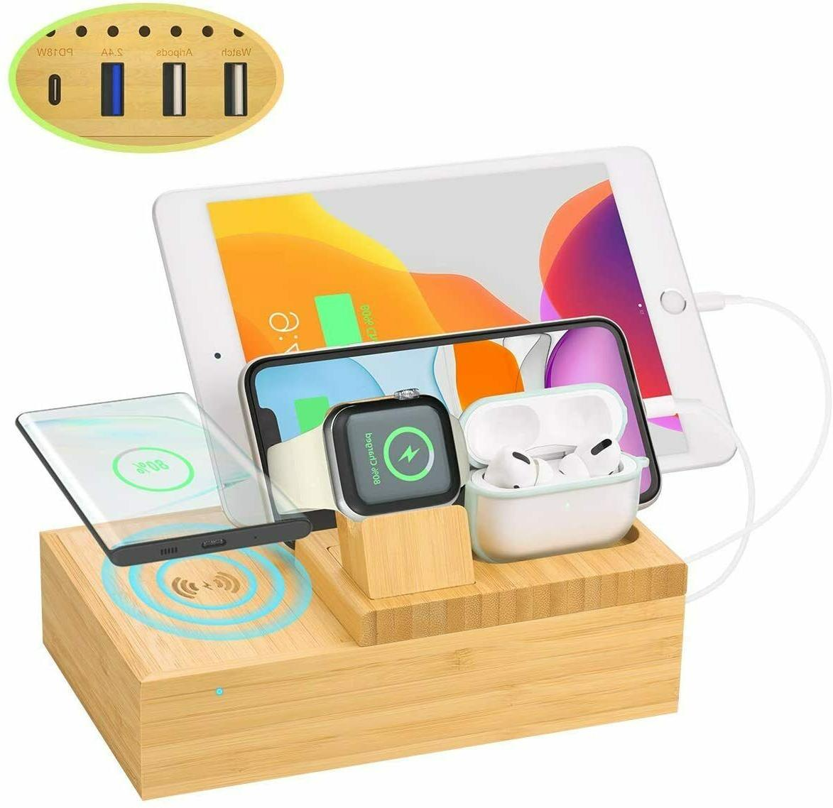 bamboo charging dock station charger holder stand