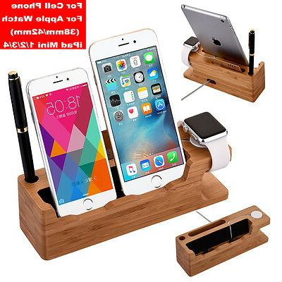bamboo charging dock station charger stand holder