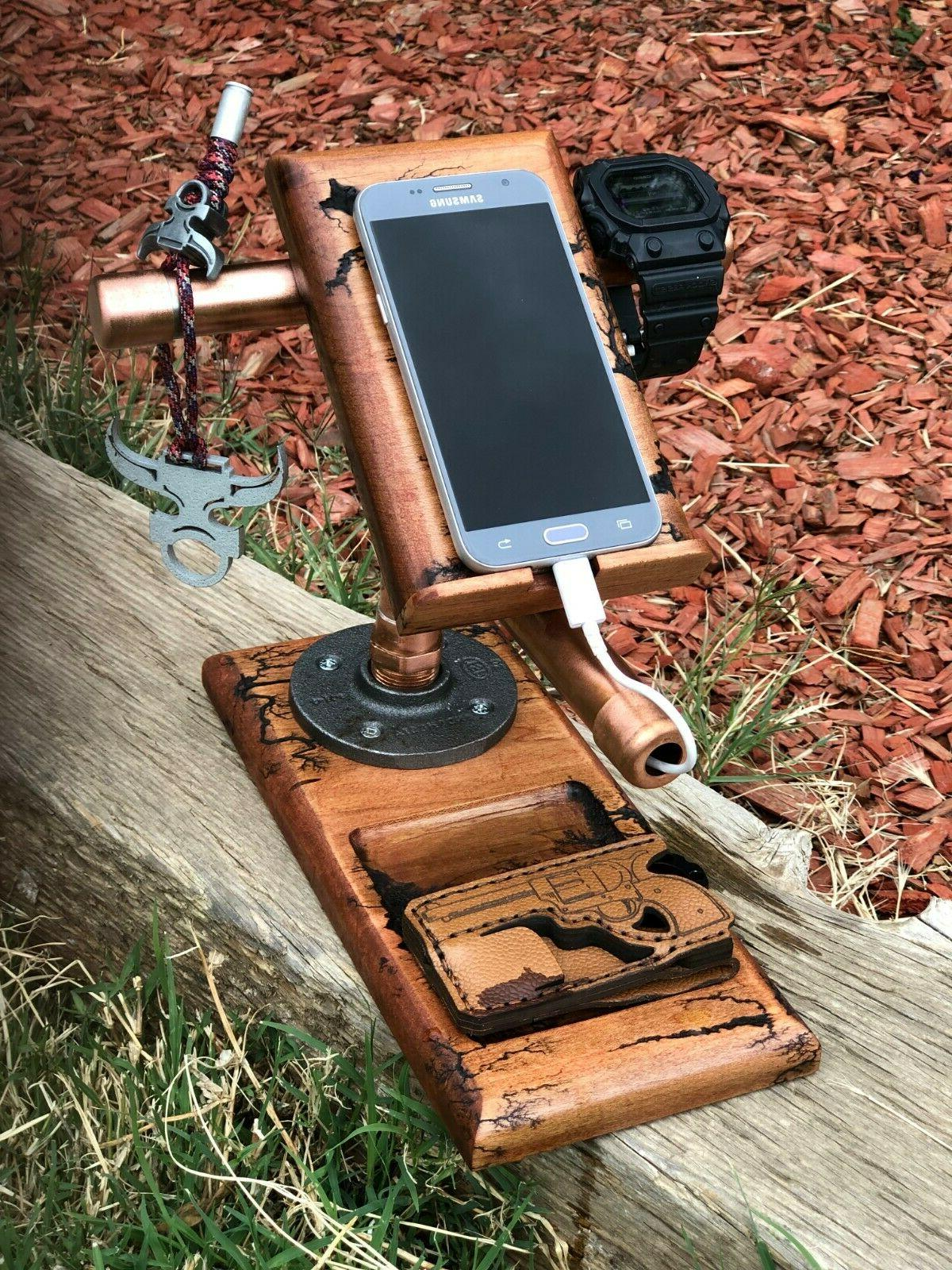 docking station hard wood cell phone stand