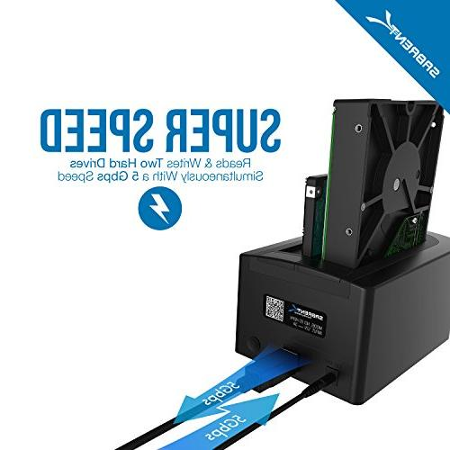 Sabrent Drive External 2 HDD Supported - Bay - 2 2.5/3.5 Bay ATA/300 - Fan
