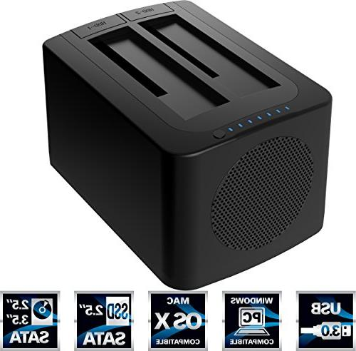 Sabrent External - Black 2 HDD Supported - x Bay - 2 x ATA/300 - - - Fan