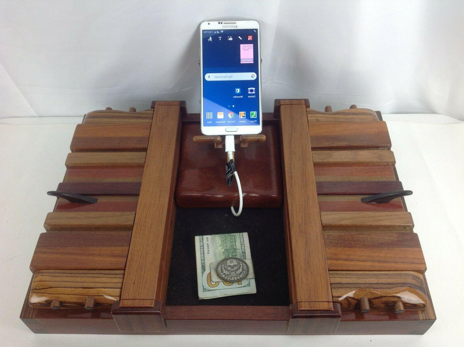 exotic wood mens jewelry valet phone charging