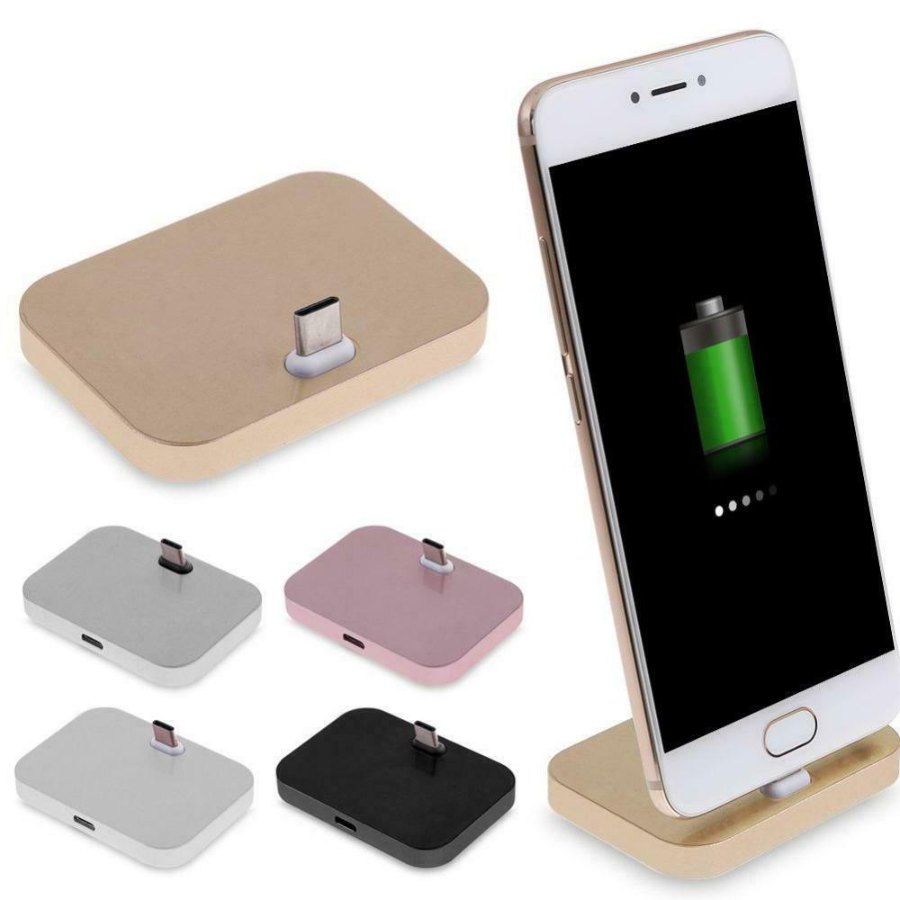 gold type c charger dock aluminum type