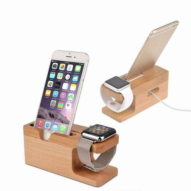 phone stand charging dock station bamboo wood