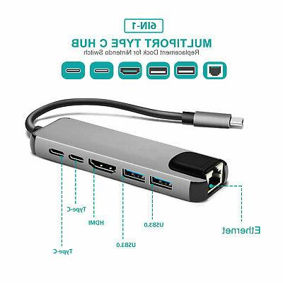 USB C Hub Adapter HDMI PD Lan Charge
