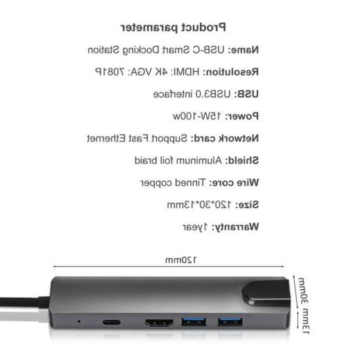 Type-c HDMI PD usb3.0 hub HD