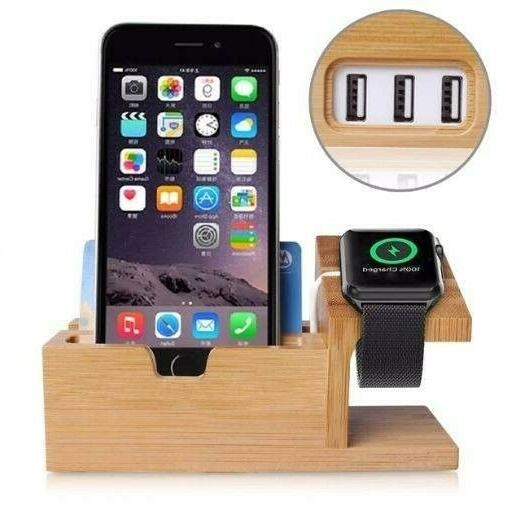 wood docking station cell phone stand watch