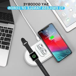 Qi 10W Wireless Fast Charger Dock Station For iPhone/Airpod/