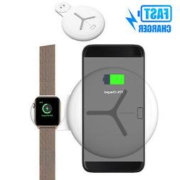 Qi 2 in 1 Wireless Charging Pad Fast Charger Dock station Fo